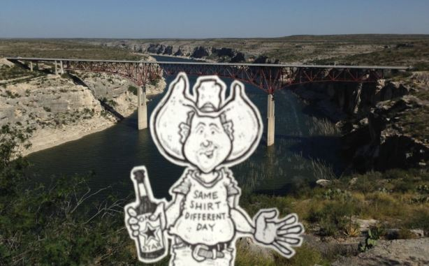Cartoon Cowboy at The Pecos High Bridge